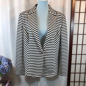 Anne Klein Black White Stripe Knit Blazer, XL NWOT